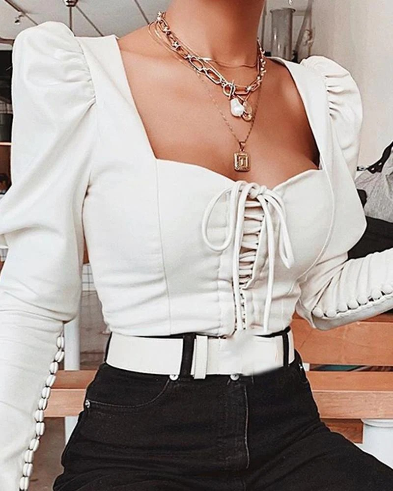 White Long Sleeve Bustier Top 2