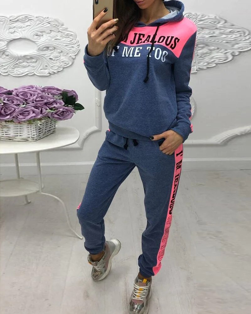 Hooded Colorblock Insert Letter Print Drawstring Sweatshirt & Pants Sets 8
