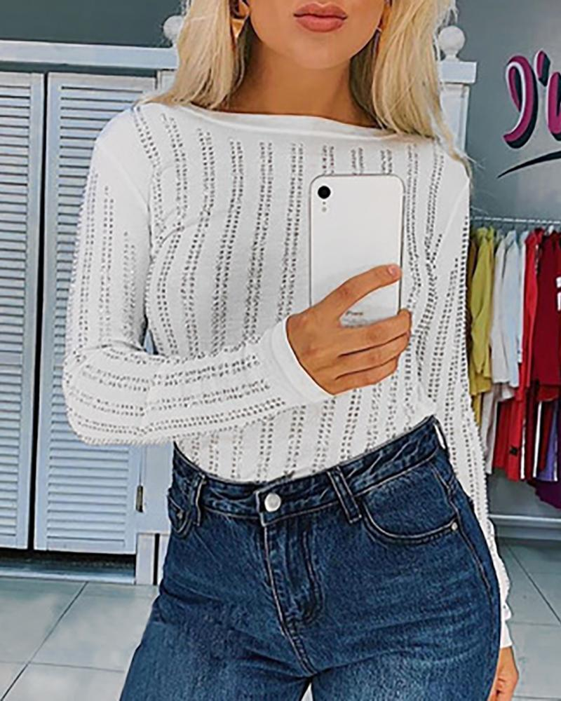 Hot Stamping Round Neck Long Sleeve Blouse