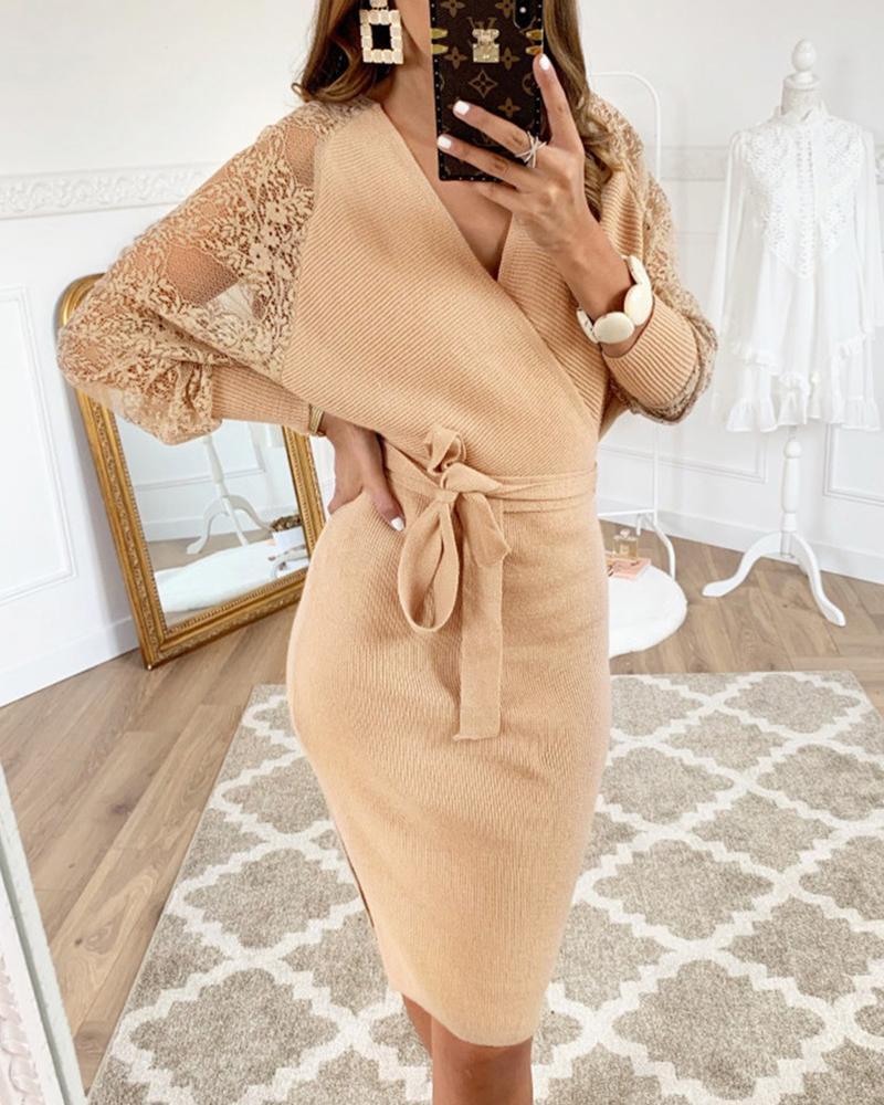 Lace Insert Batwing Sleeve Surplice Wrap Dress 7