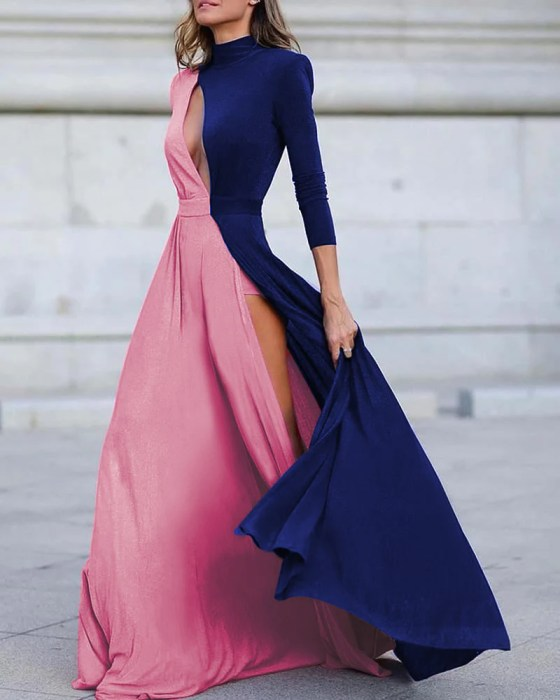 Colorblock Long Sleeve High Slit Maxi Dress 2