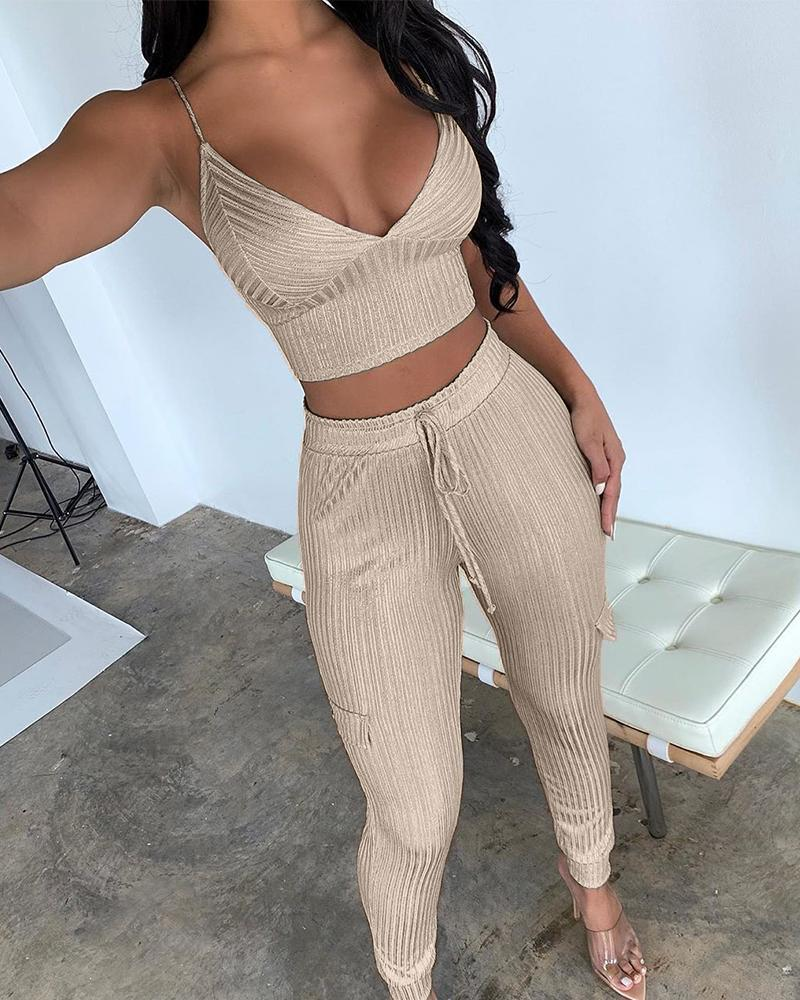 Ribbed Crop Top + Trousers Set 9