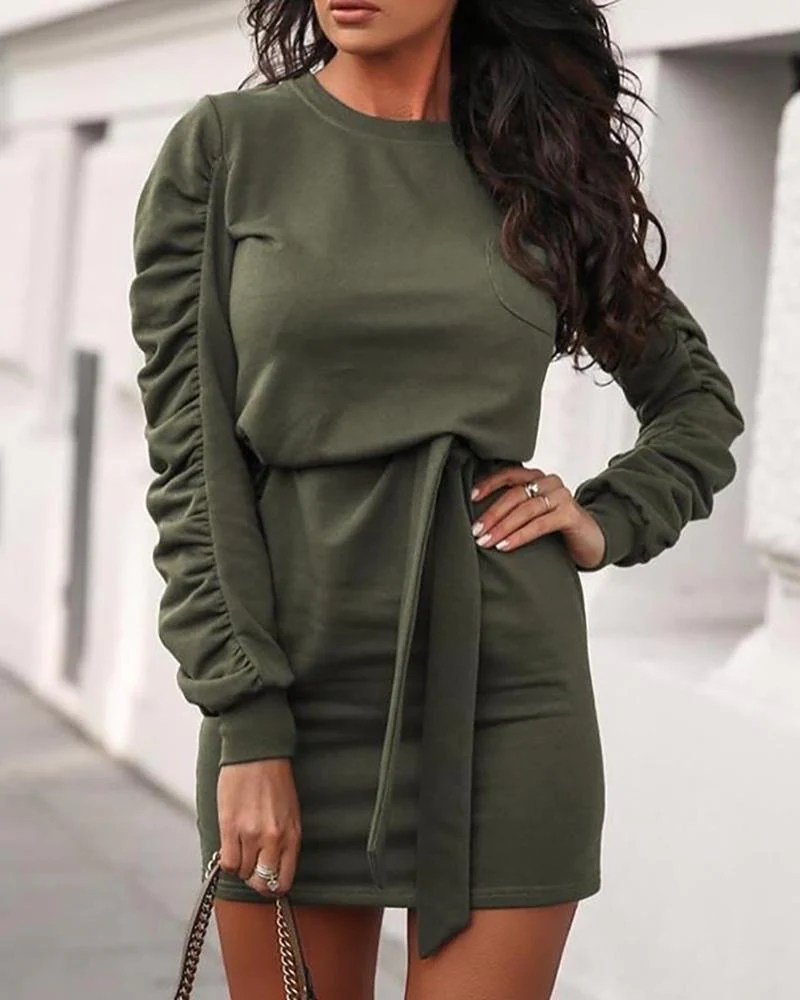 Solid Tied Waist Long Sleeve Ruched Dress 3