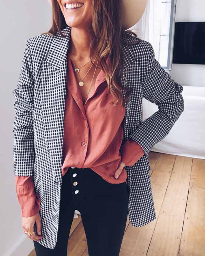Notched Collar Plaid Long Sleeve Blazer 8