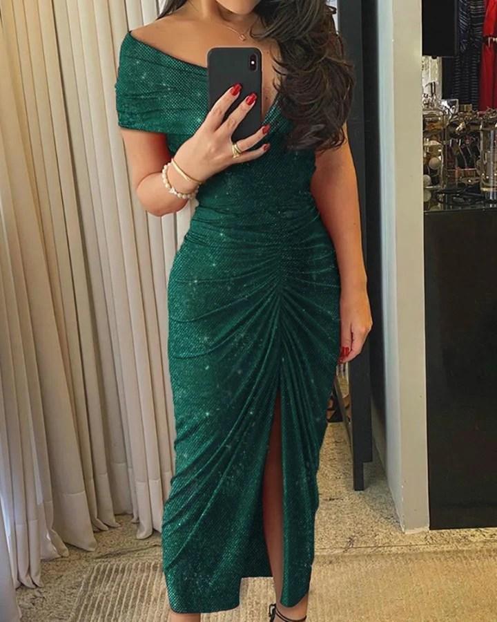 Glitter Off Shoulder Ruched Slit Dress 1