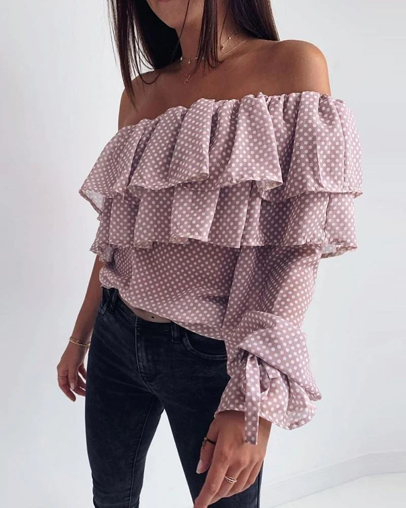 Dot Layered Ruffles Off Shoulder Blouse 8