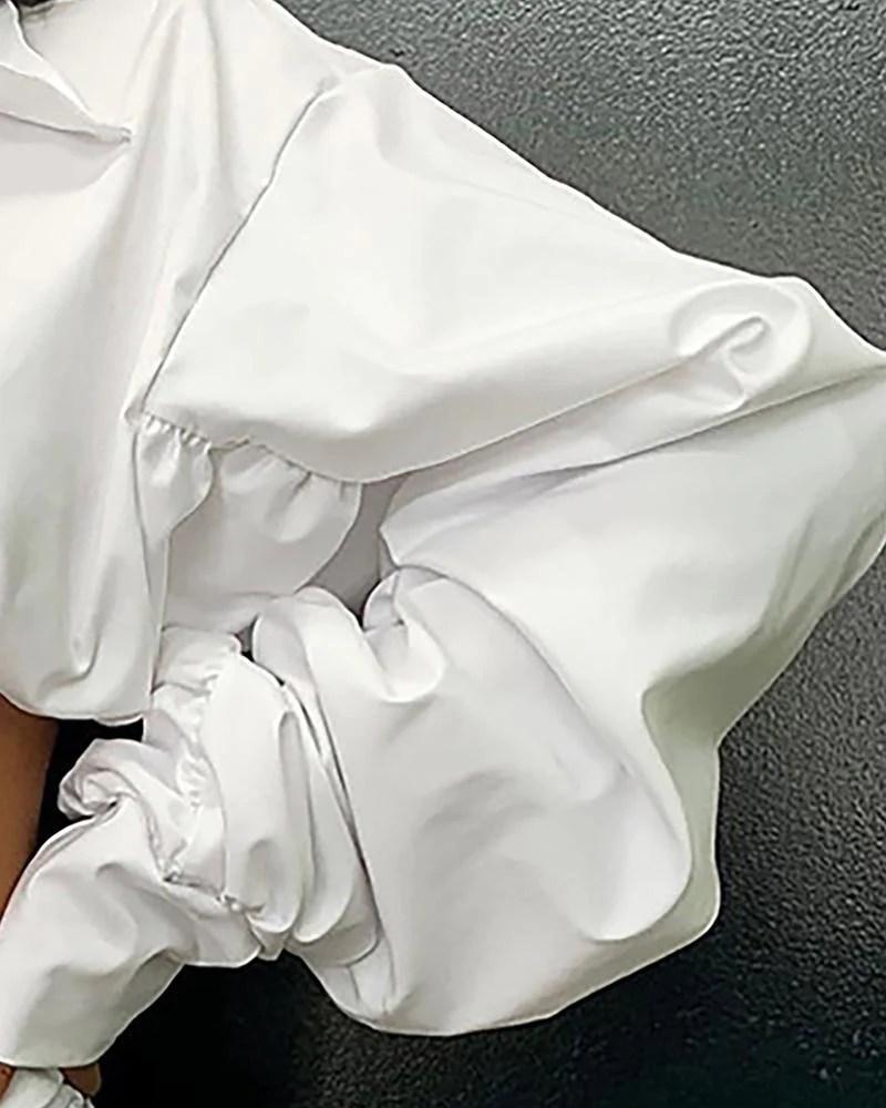 Ruched Design Lantern Sleeve Top & Skirt Sets