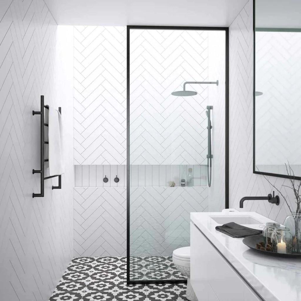 Framed Walk In Shower Screen 3 Width Options Shower Panel Matte Black Silver