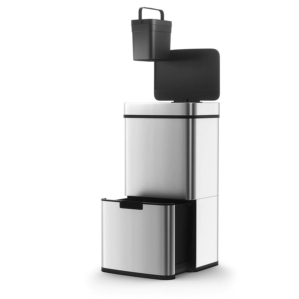 poubelle de cuisine automatique tri selectif double compartiment 75l narvik en acier inox recyclage grande capacite et poubelle de table 3l