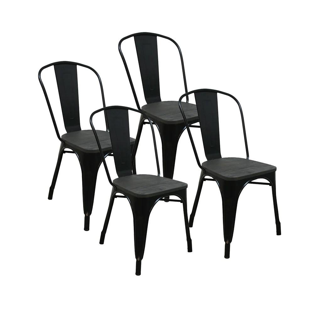lot de 4 chaises gaston en metal noir style industriel avec assise en bois massif fonce