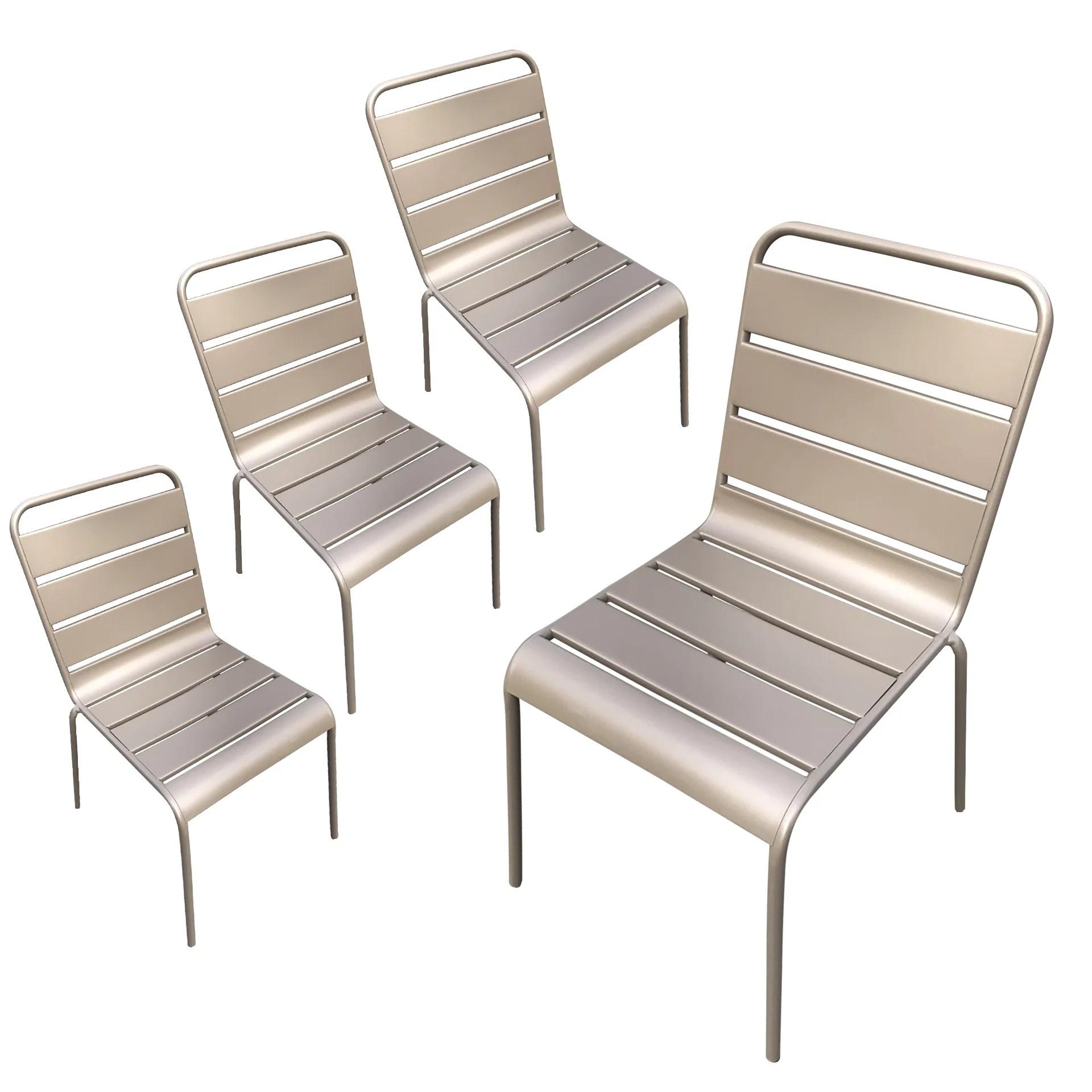 chaises de jardin metal montmartre taupe x4
