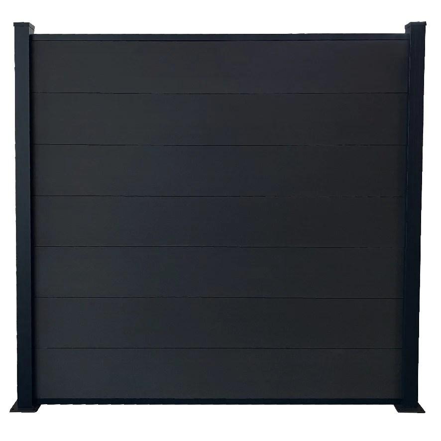 kit cloture jardin panneaux occultant en bois composite et aluminium set de base 1 85 x 1 94 m