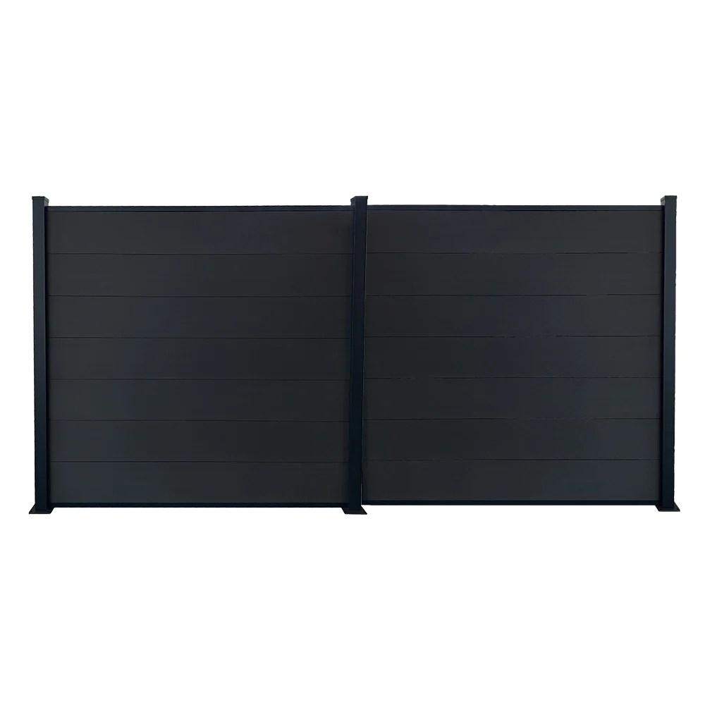 kit cloture jardin panneaux occultant en bois composite et aluminium set de base 1 extension longueur 3 81m