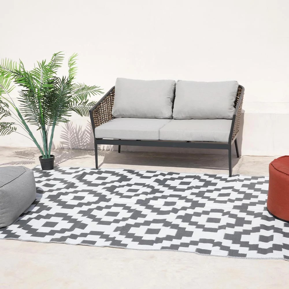 tapis d exterieur interieur reversible 400g m2 kenya gris 270 x 180 cm