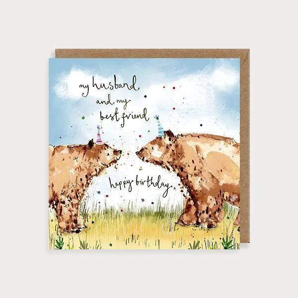 Husband Brown Bears Birthday Card Louise Mulgrew