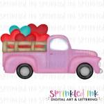 Watercolor Png Vintage Pink Valentine Heart Bunch Truck Download File Sprinkled Ink