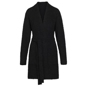 SKIMS Women's Cozy Knit Short Robe - Black - Size 4XL/5XL