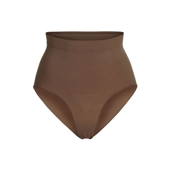SKIMS Women's Sculpting Mid Waist Brief Shapewear - Brown - Size S/M