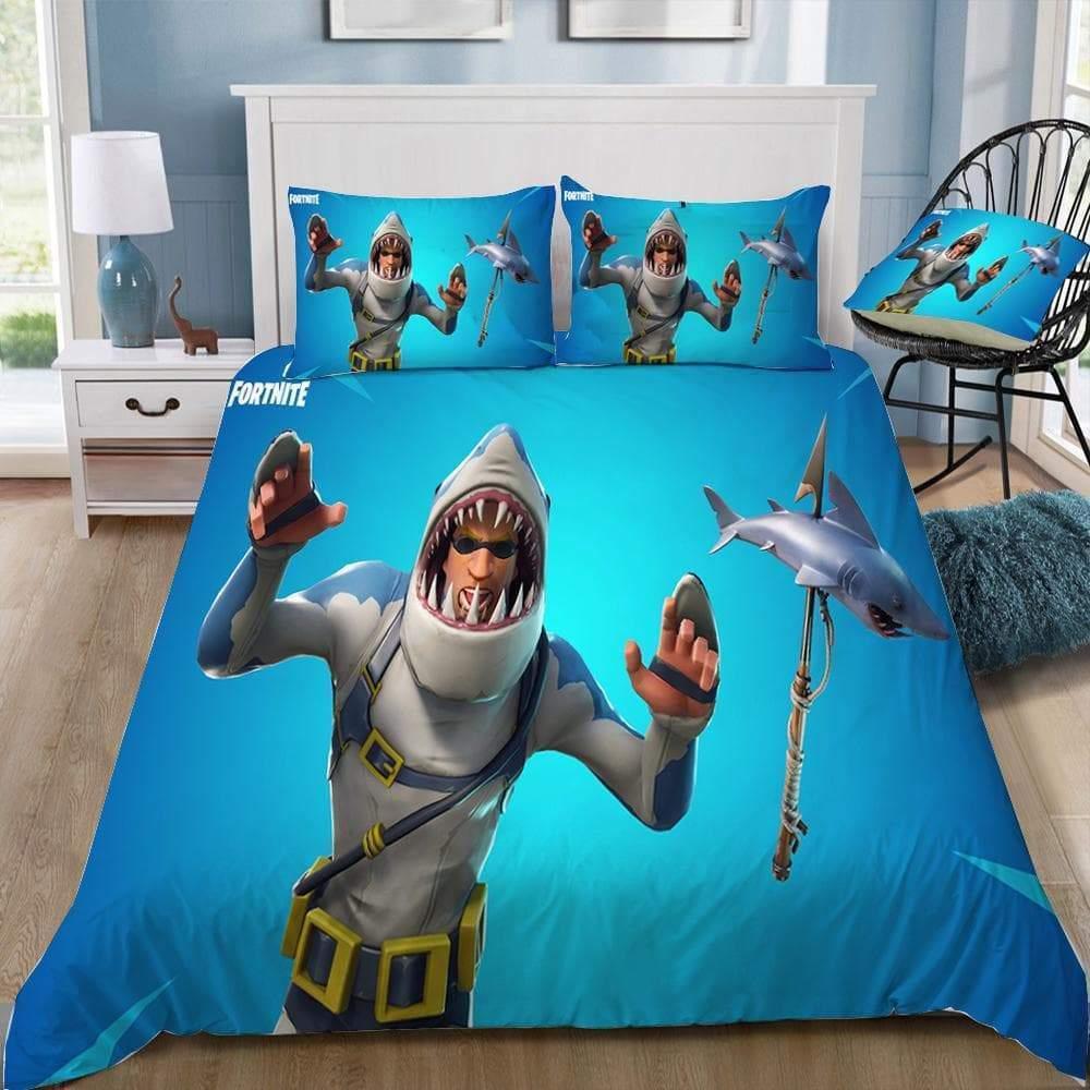 chomp sr fortnite gamer bedding set duvet cover pillowcases
