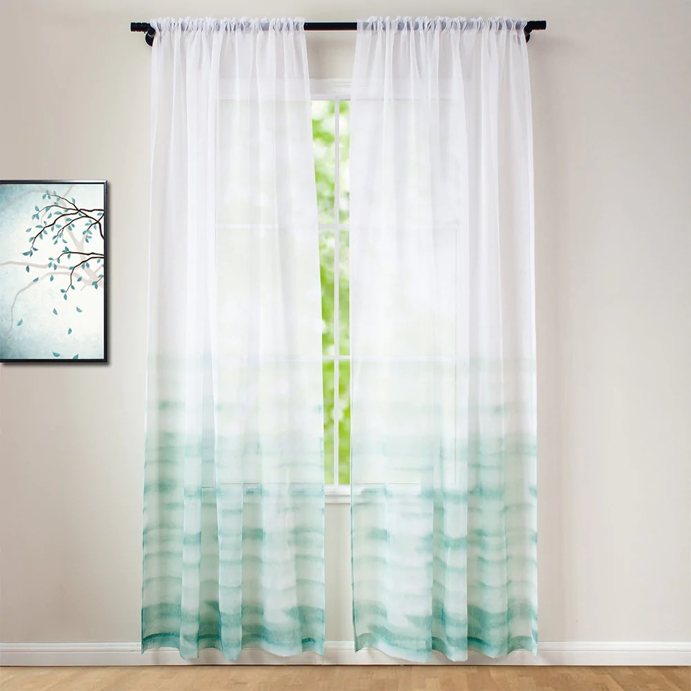 ombre printed window sheer curtain mint green gradient color faux linen semi sheer panels for bedroom living room rod pocket curtain set of 2