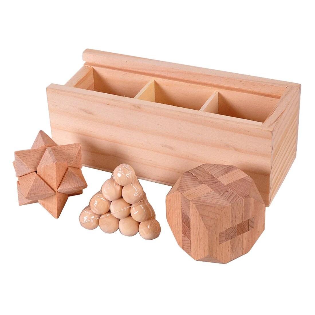 casse tete en bois boite en bois 3 pieces