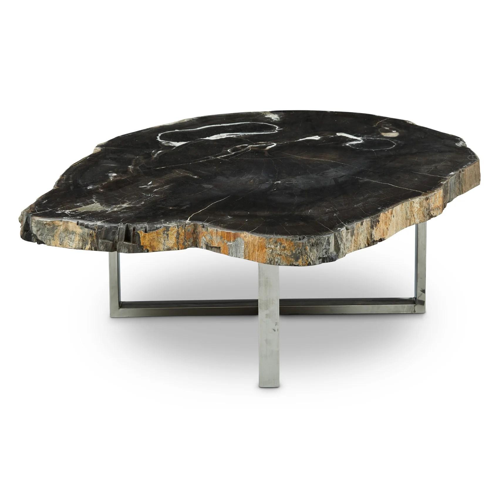 eliza petrified wood coffee table dark