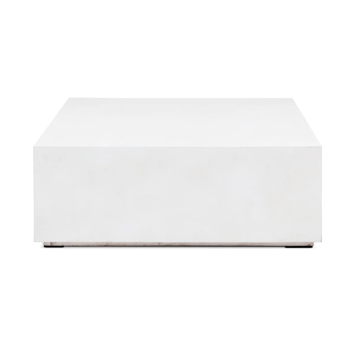 ivory white concrete square block coffee table