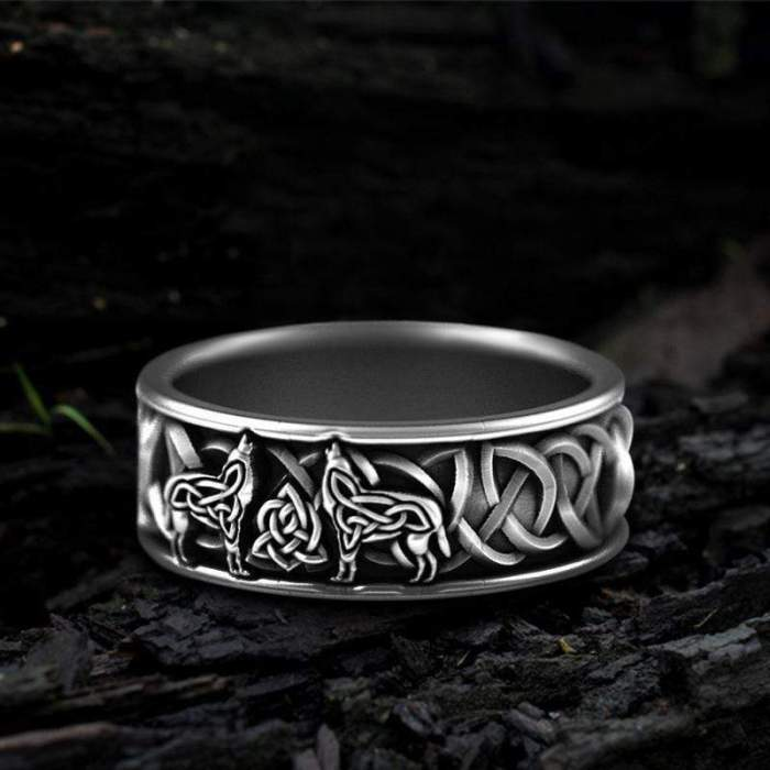 gthic ring fenris wolf stainless steel viking ring