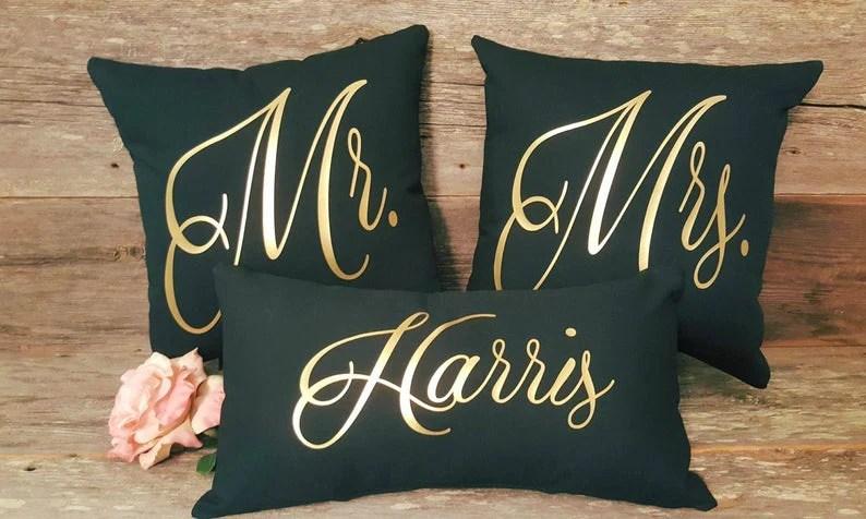mr mrs pillow cover set