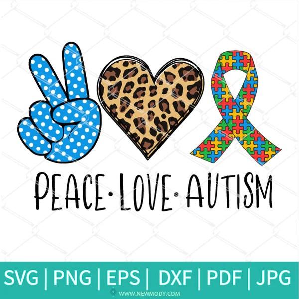 Download Peace love Autism SVG - Autism Awareness Ribbon SVG