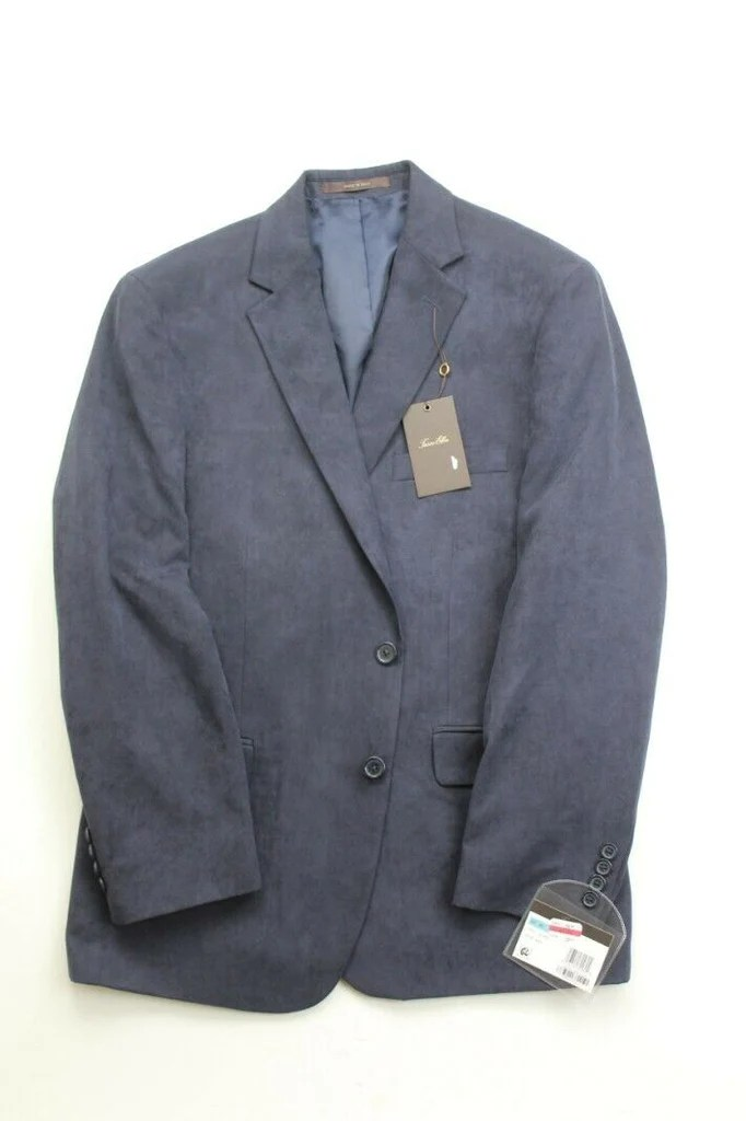 295 tasso elba classic fit microsuede sport coat 40s navy blue blazer bristol apparel co