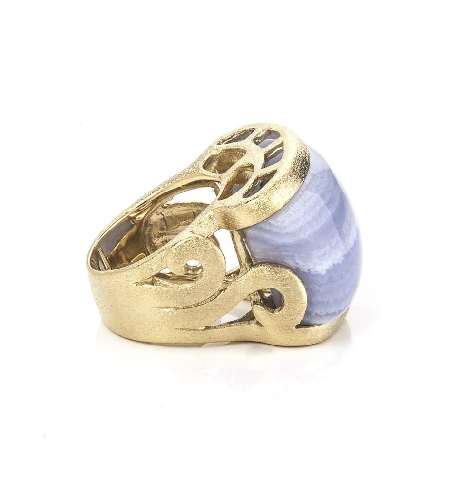 Blue Lace Agate East West Scroll Ring Rivka Friedman Jewelry
