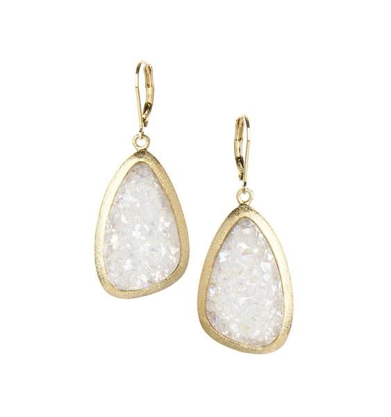 White Druzy Dangle Earrings Rivka Friedman Jewelry