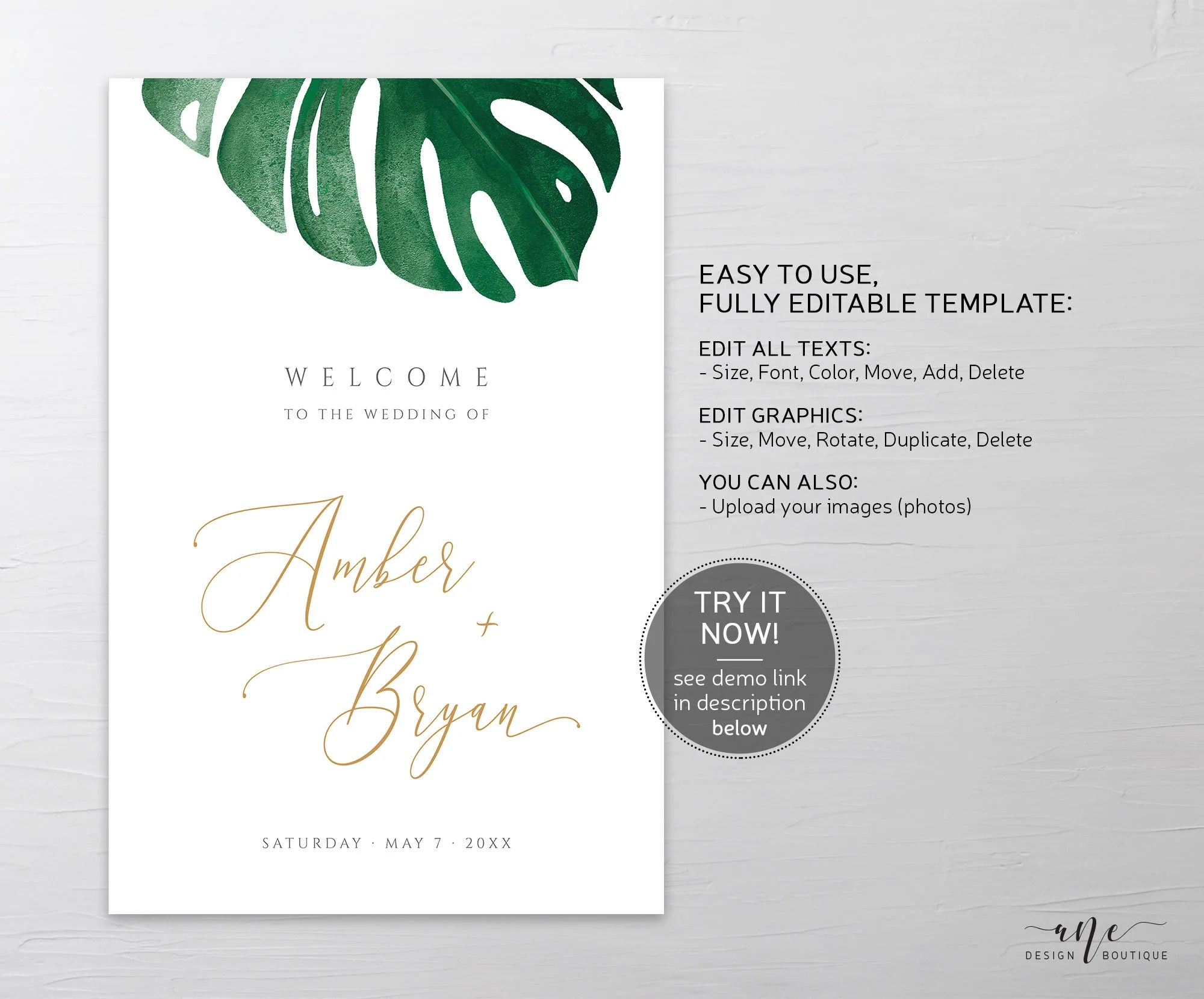 monstera wedding welcome sign template tropical greenery palm leaf wedding signs printable shower poster fully editable inst download 003