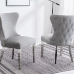 Florence Light Grey French Velvet Button Back Dining Chair With Chrome Modern Home Interiors