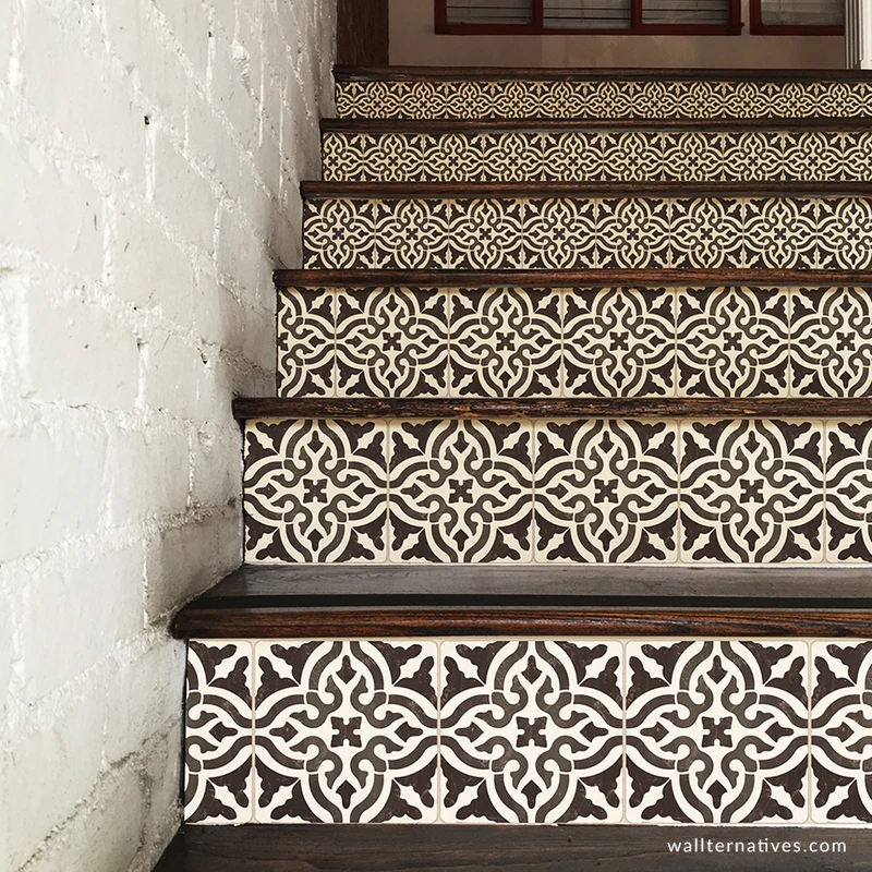 Spanish Tiles Stair Riser Decals Diy Tiled Stair Pattern   Stairs Tiles Design For Home   Outside Staircase   Stair Tread   Color   Exterior   Custom