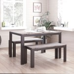 Zenvida Dining Set Table And Two Benches Modern Style Seats 4 Roadbikeoutlet
