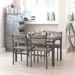 Zenvida 5 Piece Dining Set Rustic Grey Wooden Kitchen Table And 4 Chai Roadbikeoutlet