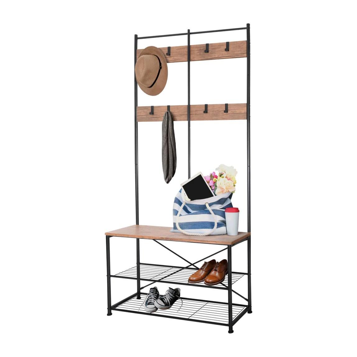 zenvida hall tree entryway bench shoe storage coat rack shelves metal frame