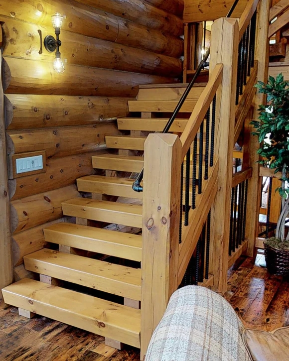 Log Timber Stairs – Log Home Mart   Rustic Banisters And Railings   Industrial   Unusual   Balcony   Custom   Barn Style