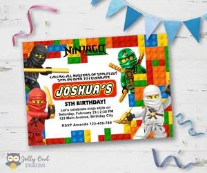 lego ninjago birthday party invitation