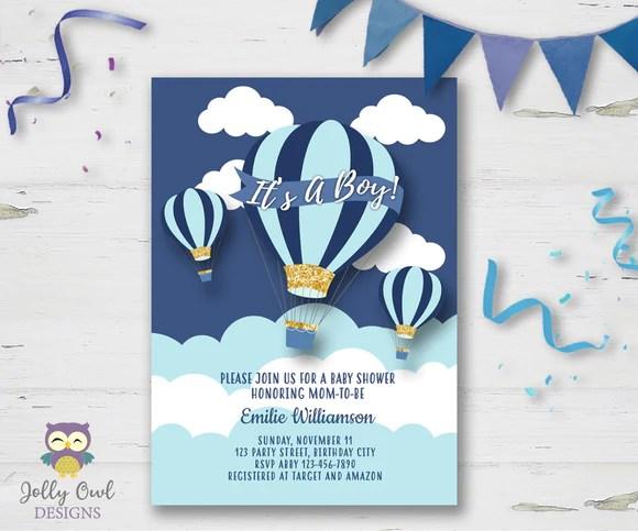 Hot Air Balloon Themed Baby Shower Invitation Jolly Owl Designs