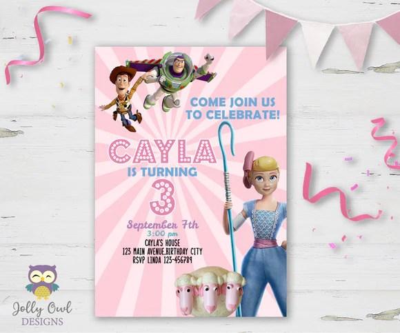 toy story bo peep birthday party invitation