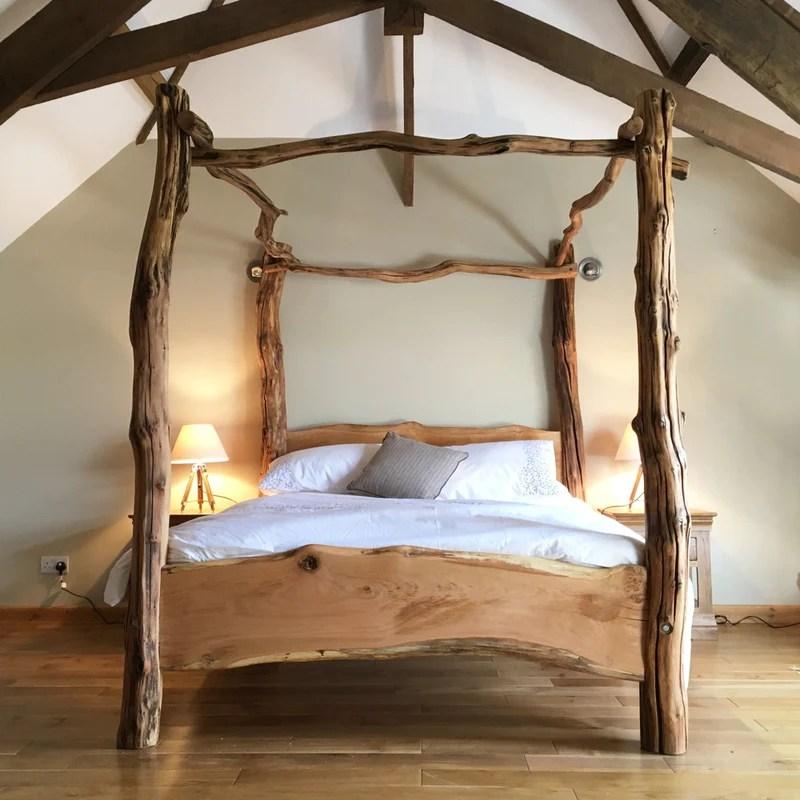 Rustic Oak Four Poster Tree Bed Freerangedesigns