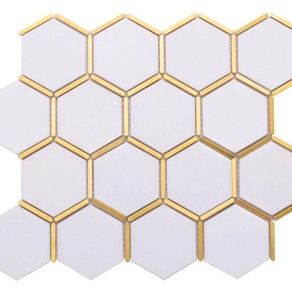 inlay brass gold hexagon white tile