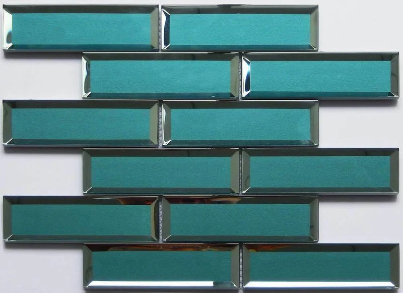 glass subway tile inverted bevel mirror teal 2x6