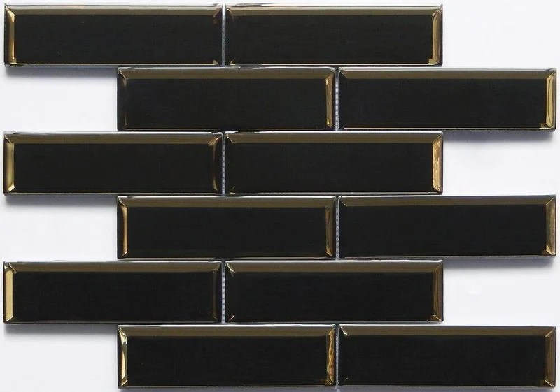 glass subway tile inverted bevel mirror black 2x6