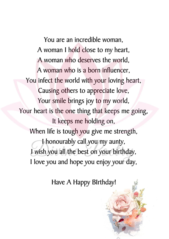 Happy Birthday Aunty Divine Poetry
