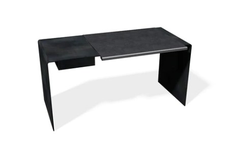 Roll Table   Tom Kundig Collection     12th Avenue Iron Inc  Black Desk with Carbon Leather