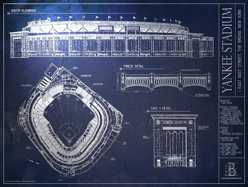 yankee stadium blueprint style poster new york yankees ballpark blueprints